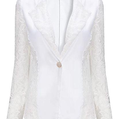 LK shop Blejzr s krajkovanými rukávy Barva: bílá, Varianta: S