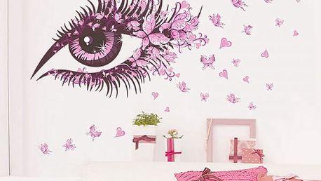 Samolepka na zeď - růžové oko s motýlky