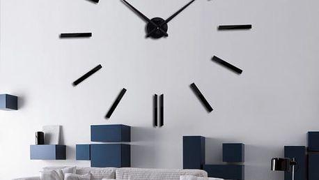 Samolepicí zrcadlové 3D hodiny na stěnu - Černá