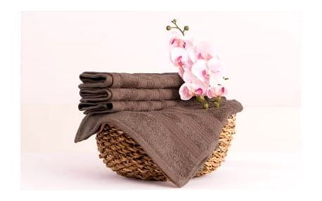 XPOSE ® Bambusový ručník SÁRA - hnědá 30x50cm 6ks