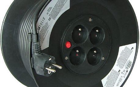 Prodlužovací kabel 230V 50m - 4x zásuvka, černý, na bubnu - 8595092107307
