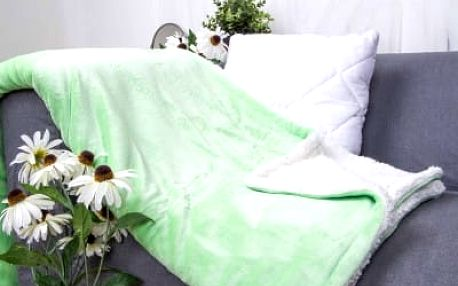 XPOSE ® Deka mikroflanel s beránkem - světle zelená 140x200 cm