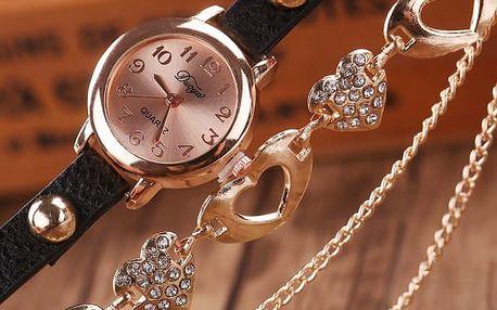 Dámské hodinky s řetízkem - srdíčka