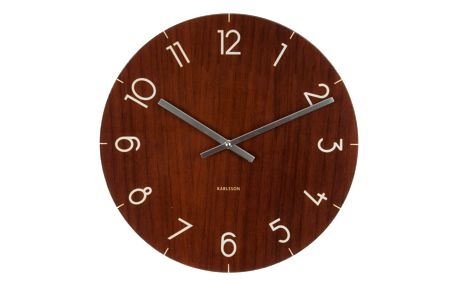 Tmavě hnědé hodiny Present Time Glass Wood, ⌀ 17cm