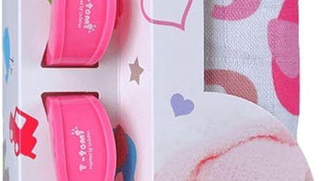 T-TOMI Baby set - bambusová osuška + kočárkový kolíček, růžová/sloni
