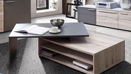 Delite - Konferenční stolek, DLTT30-J72 (dub pískový/šedá mat)