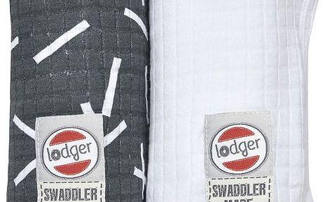 LODGER Bavlněná osuška Swaddler Sprinkle Print 2 ks - Carbon/White