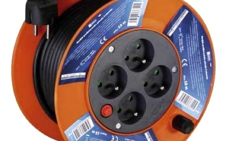 Kabel prodlužovací na bubnu EMOS 4x zásuvka, 15m černý