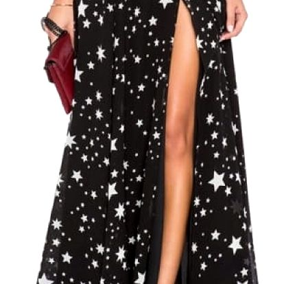 Dámská maxi sukně s hvězdičkami a výrazným rozparkem