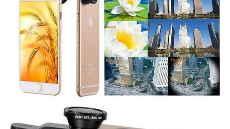Čočky s klipem pro smartphony - 3 v 1 - černá - dodání do 2 dnů