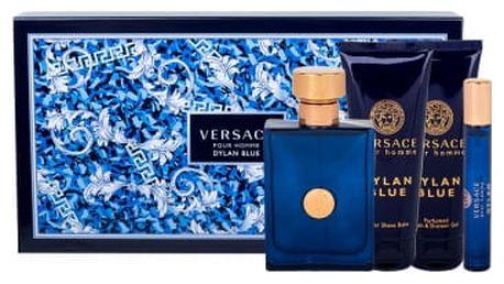 Versace Pour Homme Dylan Blue dárková kazeta pro muže toaletní voda 100 ml + sprchový gel 100 ml + balzám po holení 100 ml + toaletní voda 10 ml