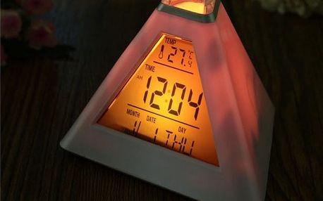 Digitální budík s datem a teplotou - Pyramida měnící barvy - dodání do 2 dnů