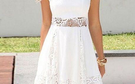 Letní bílé šatičky s krajkou - dodání do 2 dnů