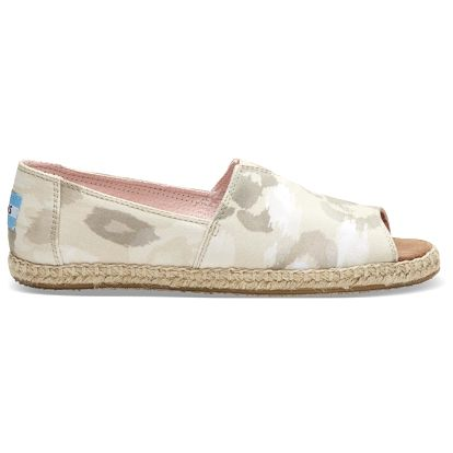 Toms béžové espadrilky Alpargata Open Toe Natural Watercolor Floral - 37