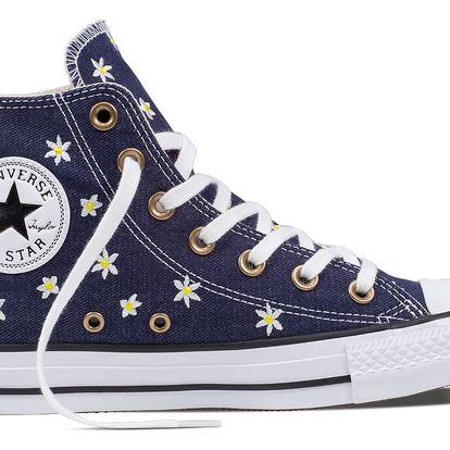 Converse modré kotníkové tenisky CTAS Hi Navy/Fresh Yellow/White - 39