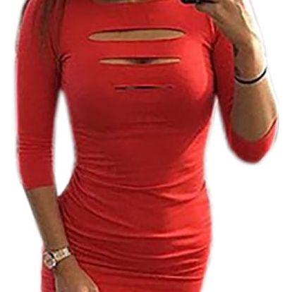 Módní šaty s tříčtvrtečními rukávy a stylově prostřihnutým výstřihem - 6 barev