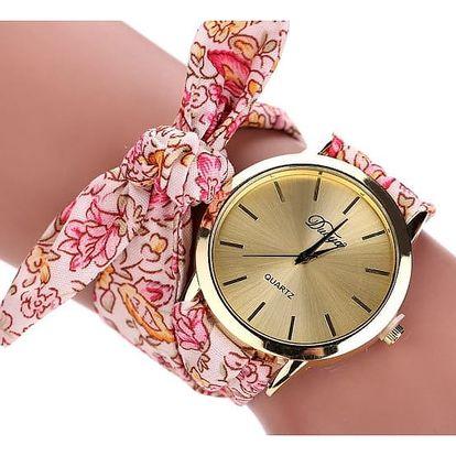 Látkové hodinky s ciferníkem ve zlaté barvě