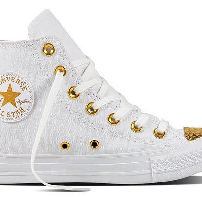 Converse bílo-zlaté dámské kotníkové tenisky CTAS HI White/Gold - 40