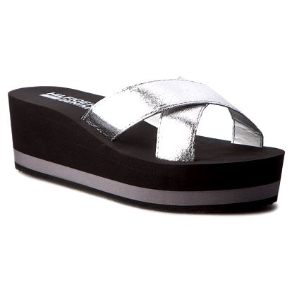 Tommy Hilfiger stříbrné pantofle na klínku SEASIDE 1D Silver - 40