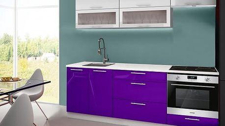 Emilia - Kuchyňský blok C, 220 cm (bílo-fialová, PD bílá)