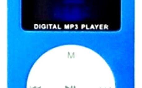 MP3 přehrávač s displejem, klipsnou na uchycení a k tomu 1x stereo sluchátka.