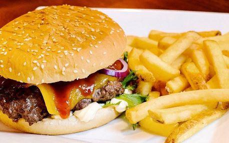 Znamenitý burger dle výběru a hranolky