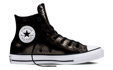 Converse kožené černé boty Chuck Taylor All Star Ctas Hi v lesklém provedení - 40