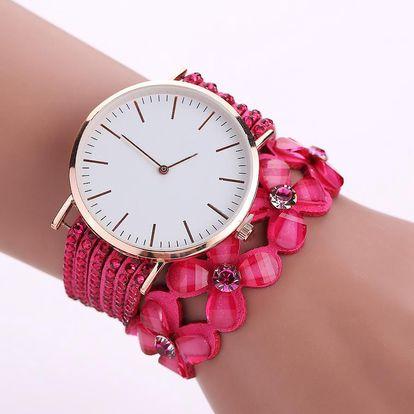 LK shop Kytičkové hodinky Barva: tmavě růžová