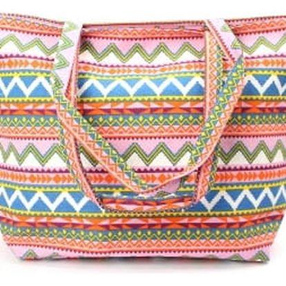 Stylová dámská plážová taška PINK CLICK