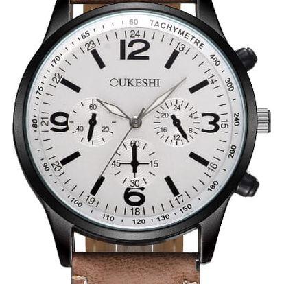 LK shop Analogové vodotěsné hodinky Barva: hnědá + bílá