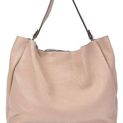 Pudrově růžová kožená kabelka Luisa Vannini Claudia - doprava zdarma!