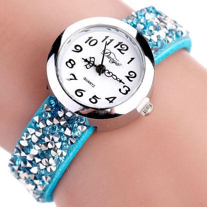LK shop Dámské hodinky s krystalky Barva: modrá