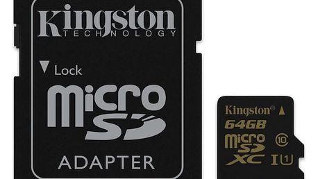 Kingston Micro SDXC 64GB Class 10 UHS-I + SD adaptér - SDCA10/64GB