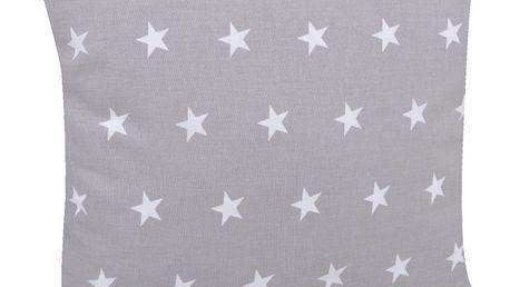 Bavlněný polštář HVĚZDY šedá/bílá 40x40 cm, Mybesthome Varianta: Povlak na polštář s výplní, 40x40 cm
