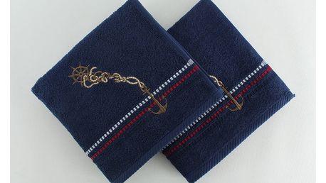 Sada 2 tmavě modrých ručníků Marina, 50x90 cm