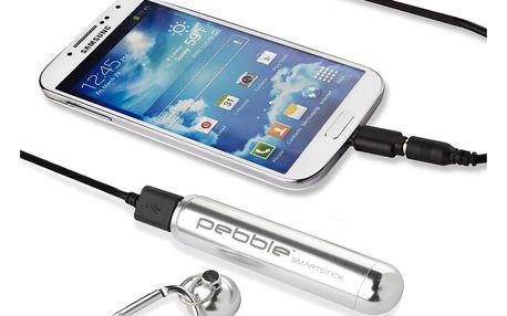 Stříbrná cestovní nabíječka Pebble Smartstick VPP-004