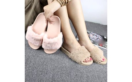 Dámské pantofle s kožešinou Luxy