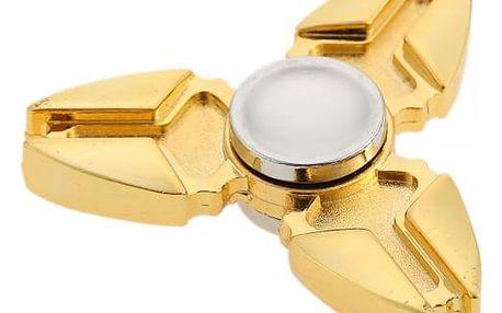 Kovový Fidget spinner s ostrým designem - zlatá a stříbrná barva