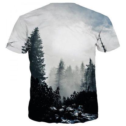 Pánské tričko s 3D motivem zimního lesa - vel. č. 2 - 6
