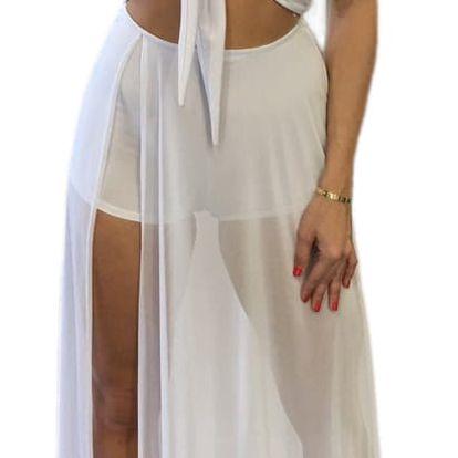 LK shop Maxi šaty s hlubokým výstřihem Barva: bílá