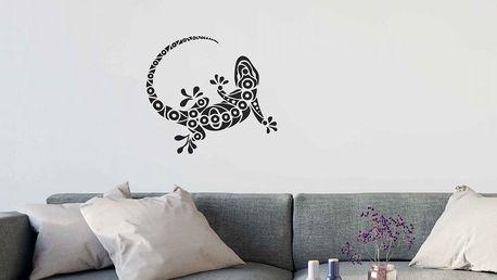 GLIX Gekon - samolepka na zeď Černá 75 x 65 cm