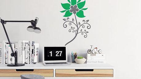 GLIX Květinová dekorace - samolepka na zeď Šedá a zelená 50 x 90 cm