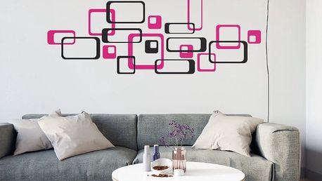 GLIX Čtverce - samolepka na zeď Černá a růžová 2 x 75 x 75 cm