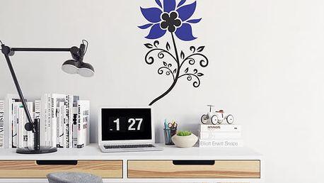 GLIX Květinová dekorace - samolepka na zeď Černá a modrá 30 x 55 cm