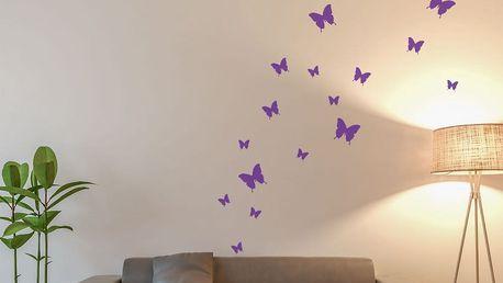 GLIX Motýli - samolepka na zeď Fialová 95 x 10 cm