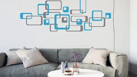 GLIX Čtverce - samolepka na zeď Šedá a modrá 2 x 30 x 30 cm