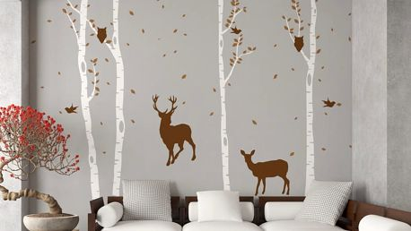 GLIX Břízový háj - samolepka na zeď Hnědá + bílý kmen 330 x 230 cm