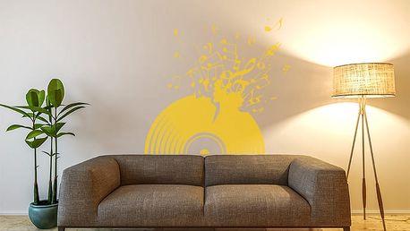 GLIX Vinylová deska - samolepka na zeď Žlutá 100 x 90 cm