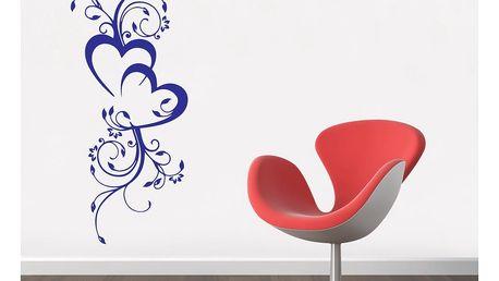 GLIX Květinová dekorace - samolepka na zeď Modrá 40 x 100 cm