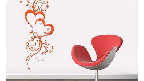 GLIX Květinová dekorace - samolepka na zeď Oranžová 50 x 120 cm